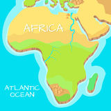 Africa Isometric Map with Natural Attractions. Cartography nature concept. Geographical map with local relief. Africa continent between Indian and Atlantic Stock Images