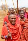 AFRICA, KENYA, MASAI MARA - JULY 2: Masai warriors dancing tradi Royalty Free Stock Photography