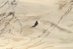 Africa- Kids Sledding Down a Giant Sand Dune stock photos
