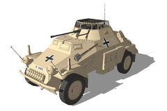 Africa Korps armoured vehicle. Illustration of armoured vehicle of the Africa Korps on white background Stock Photo