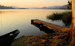 Africa Lake. Dock Lake Bunyonyi in Western Uganda East Africa Stock Images