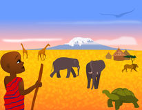 Africa Landscape. Illustration of an African landscape with mount Kilimanjaro and animals in background Stock Photos