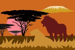 Africa landscape with lions sunset and Kilimanjaro royalty free stock image