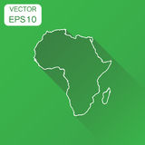 Africa linear map icon. Business cartography concept outline Afr. Ica pictogram. Vector illustration on green background with long shadow Stock Photo