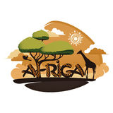 Africa logo. With giraffe and tree Royalty Free Stock Photography