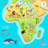 Africa Mainland Cartoon Map with Fauna Species. Africa mainland cartoon map with local fauna. Cute african animals flat vector. Savannah predator. Desert species Stock Photos