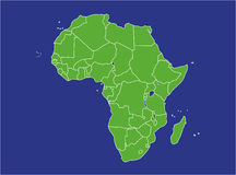 Africa Map. A basic map of africa with water in blue and land in green Stock Photo
