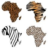 Africa, map of Africa with animal prints Royalty Free Stock Photos