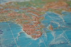 Africa on the map. Africa on the world map.  stock photography