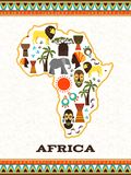 Africa map with african icons Royalty Free Stock Photo