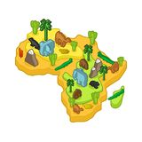 Africa map animal Isometric style. flora and fauna. Vector illus. Tration Royalty Free Stock Image