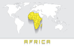 Africa on the map Stock Photos