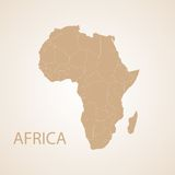 Africa map brown Royalty Free Stock Photos
