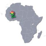 Africa map with Burkina Faso Royalty Free Stock Photos