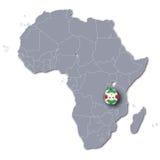 Africa map with Burundi Royalty Free Stock Photo