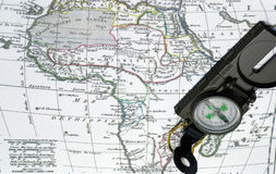 Africa map and compass Stock Image