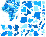 Africa map and country contours - Illustration. Stock Photography