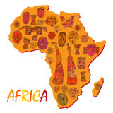 Africa map with different ancient symbols and signs Stock Images