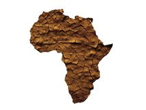Africa map drought or waterless concept isolated. On white stock images