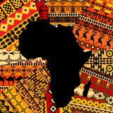 Africa map on ethnic background. Africa map on ethnic texture background Stock Photo