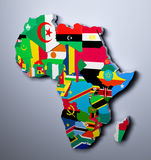 AFRICA MAP WITH FLAGS OF THE COUNTRIES 3d illustration. MAP WITH FLAGS OF THE COUNTRIES 3d illustration Stock Photos