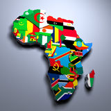 AFRICA MAP WITH FLAGS OF THE COUNTRIES 3d rendered image. MAP WITH FLAGS OF THE COUNTRIES 3d rendered image Royalty Free Stock Images