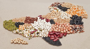 Africa map food. On brown background royalty free stock images