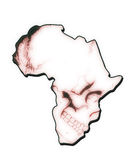 Africa map in the form of skull. In red, ebola concept Stock Images