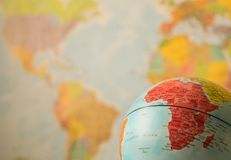 Africa map on a globe. With the whole world as background royalty free stock photo