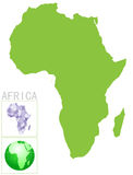 Africa map and icon Stock Photography