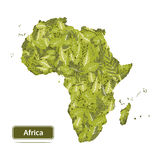 Africa map isolated on white background, leaves map vector illus Stock Photo