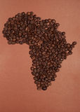 Africa map made of coffee beans Royalty Free Stock Photo