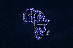 Africa map made of electronic microchip circuits Stock Photos