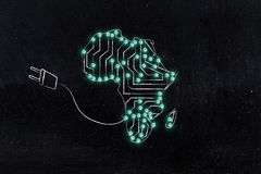 Africa map made of electronic microchip circuits & plug. Concept of global communications and connectivity: africa map made of electronic microchip circuits Royalty Free Stock Image