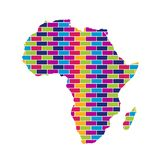 Africa Map with Multi Colored Brick Style Background royalty free illustration