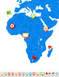 Africa map and navigation icons - Illustration. Royalty Free Stock Photos