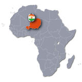 Africa map with the Niger. And tourism stock photo