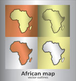 Africa map outlines. Gold bronze silver Stock Photo