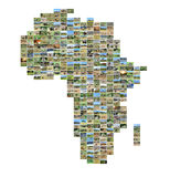 Africa map with photos. Collection of different photos placed as africa map shape stock photos