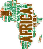 Africa map tag cloud Stock Images