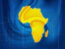 Africa map techno. Wallpaper illustration of a Africa map in a techno style royalty free illustration