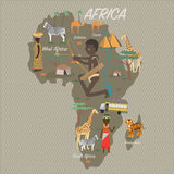 Africa map and travel Stock Images