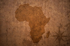 Africa map on vintage crack paper. Background stock photo
