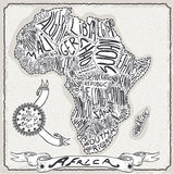 Africa Map on Vintage Handwriting Page Royalty Free Stock Image