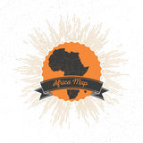 Africa map with vintage style star burst, retro Royalty Free Stock Images