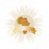 Africa map with vintage style star burst, yellow Royalty Free Stock Photos