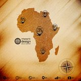 Africa map, wooden design background, infographics Stock Images