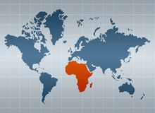 Africa on map of the world Stock Photos