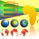 Africa map on yellow background vector. Africa map with shadow on yellow background with world globes vector Stock Photos