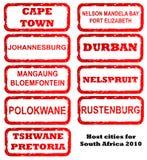 africa miasta gospodarza południe znaczki ilustracja wektor